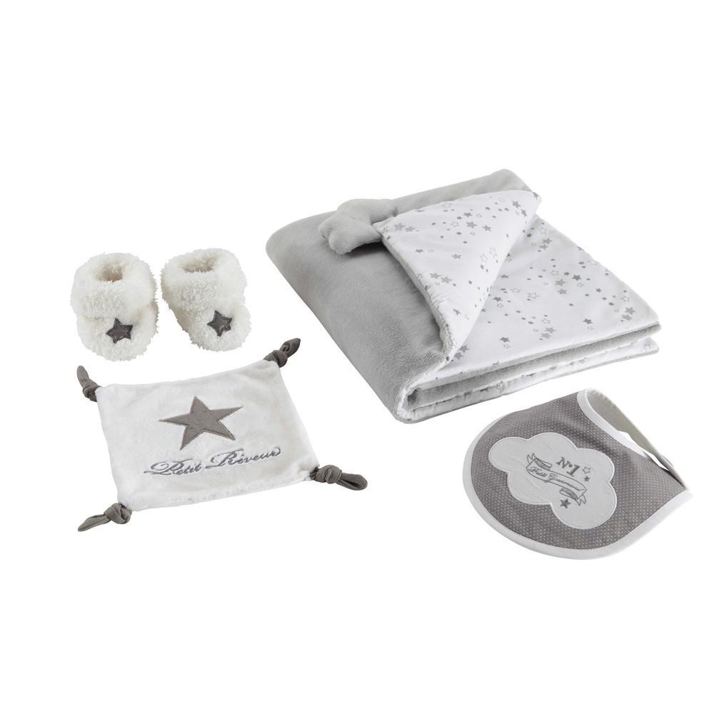 coffret cadeau naissance motif toiles gris songe maisons du monde. Black Bedroom Furniture Sets. Home Design Ideas