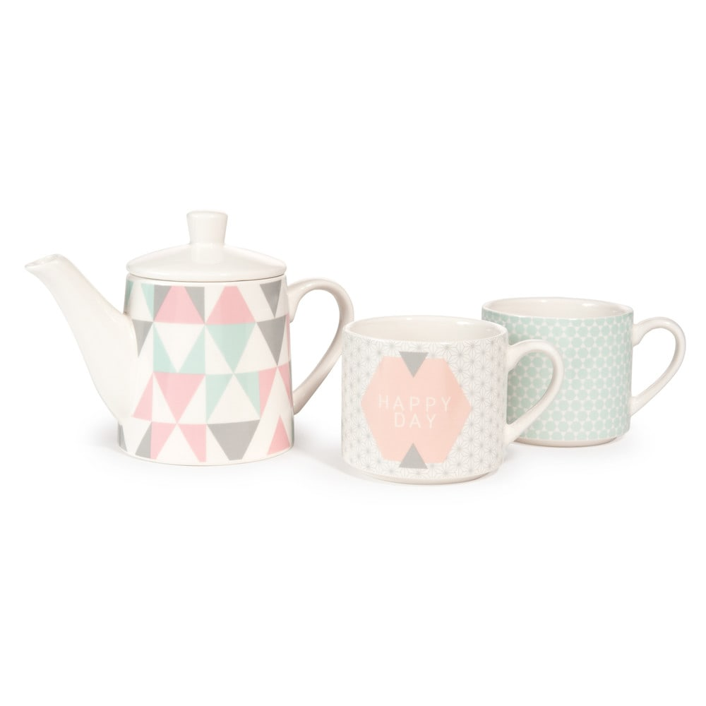 Coffret th i re 2 tasses en fa ence zo maisons du monde - Theiere maison du monde ...