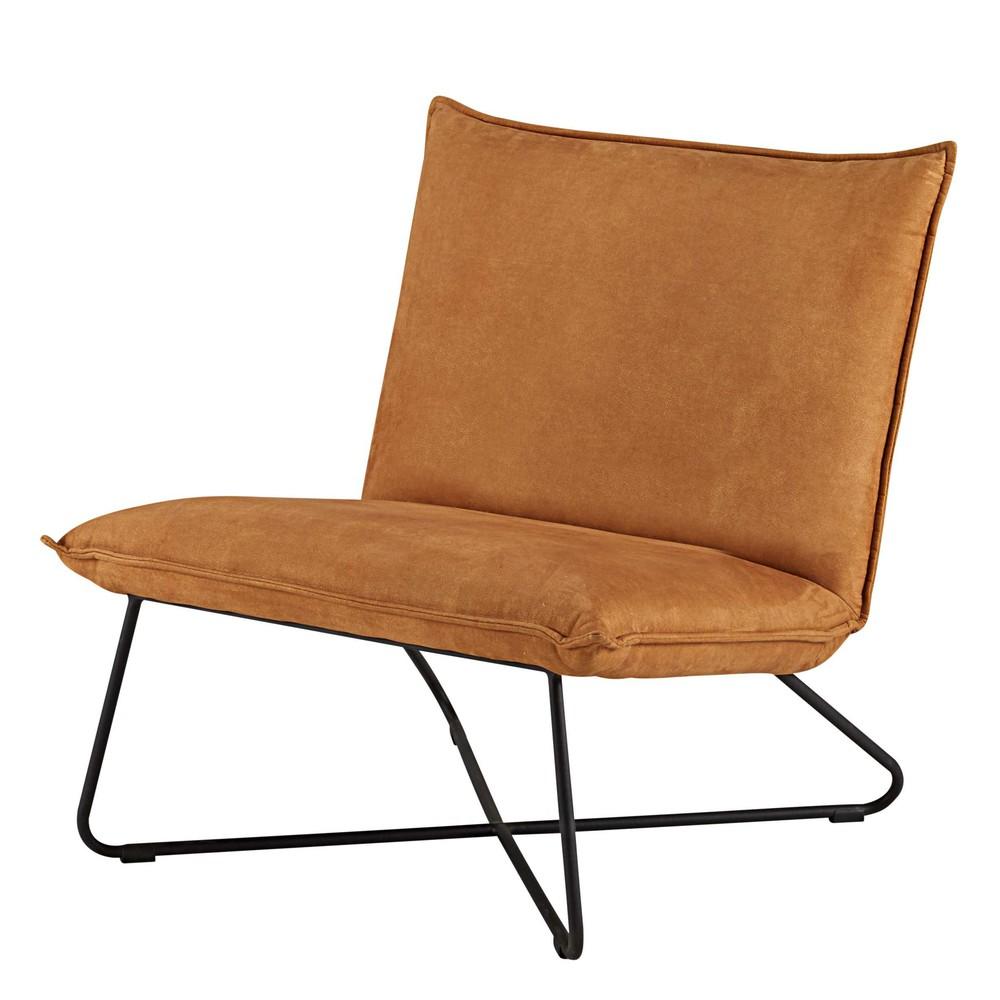cognac imitation suede and black metal armchair lucas maisons du monde. Black Bedroom Furniture Sets. Home Design Ideas