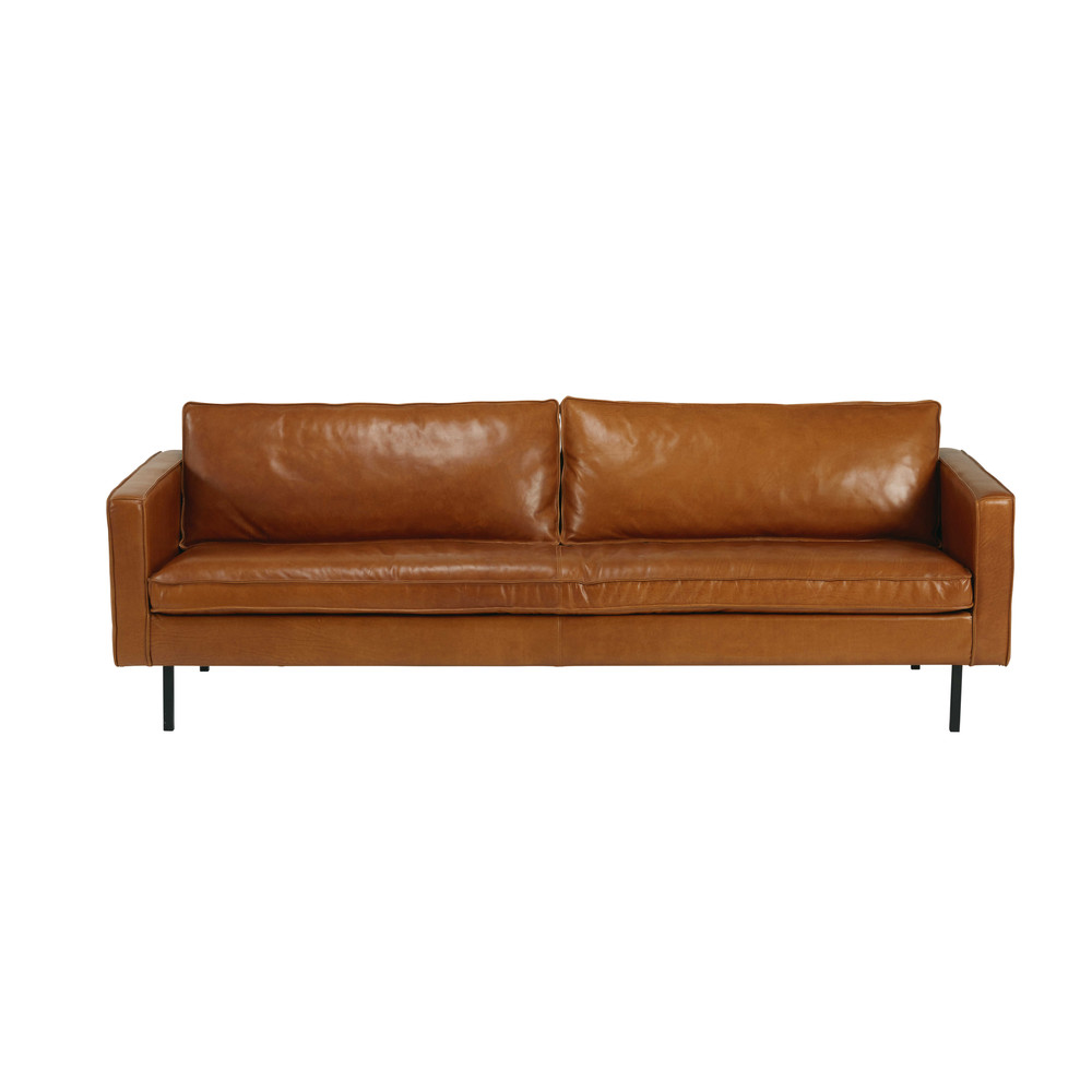 cognac leather 4 seater sofa potter maisons du monde. Black Bedroom Furniture Sets. Home Design Ideas