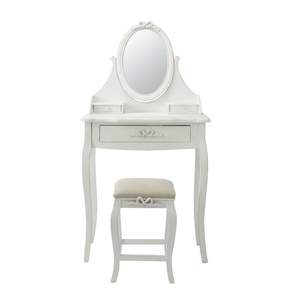 Coiffeuse blanche avec tabouret charlotte maisons du monde for Miroir pour coiffeuse