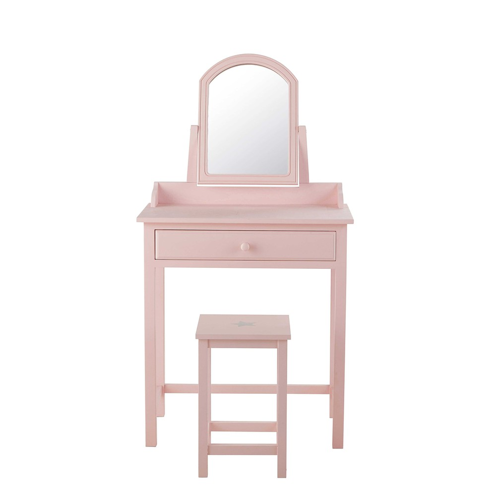 coiffeuse tabouret en bois rose l 70 cm pastel maisons. Black Bedroom Furniture Sets. Home Design Ideas