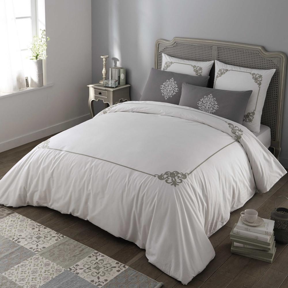 coleto cotton king size bedding set in white grey 220 x. Black Bedroom Furniture Sets. Home Design Ideas
