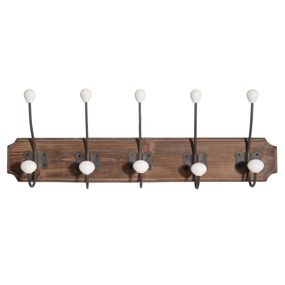 colgador con 5 ganchos de madera marronnier maisons du monde. Black Bedroom Furniture Sets. Home Design Ideas