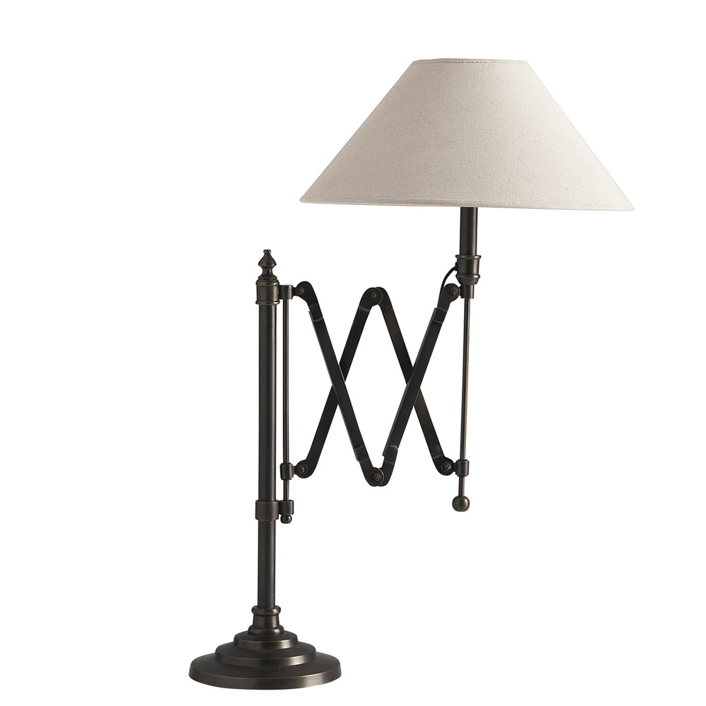 COLOGNE Metal Accordion Bedside Lamp With Cotton Lampshade H 63cm