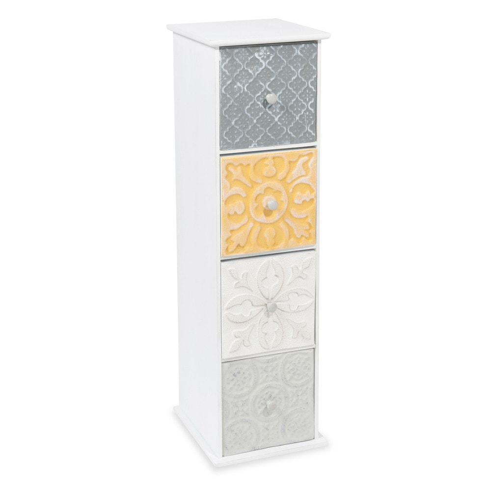 colonne 4 tiroirs en bois h 66 cm yellow maisons du monde. Black Bedroom Furniture Sets. Home Design Ideas