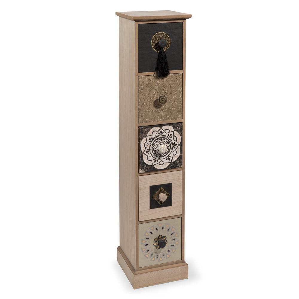 colonne 5 tiroirs en bois h 82 cm nomad maisons du monde. Black Bedroom Furniture Sets. Home Design Ideas