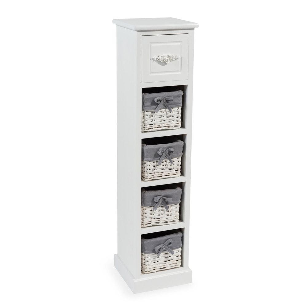 colonne de rangement 5 tiroirs blanche rosa maisons du monde. Black Bedroom Furniture Sets. Home Design Ideas