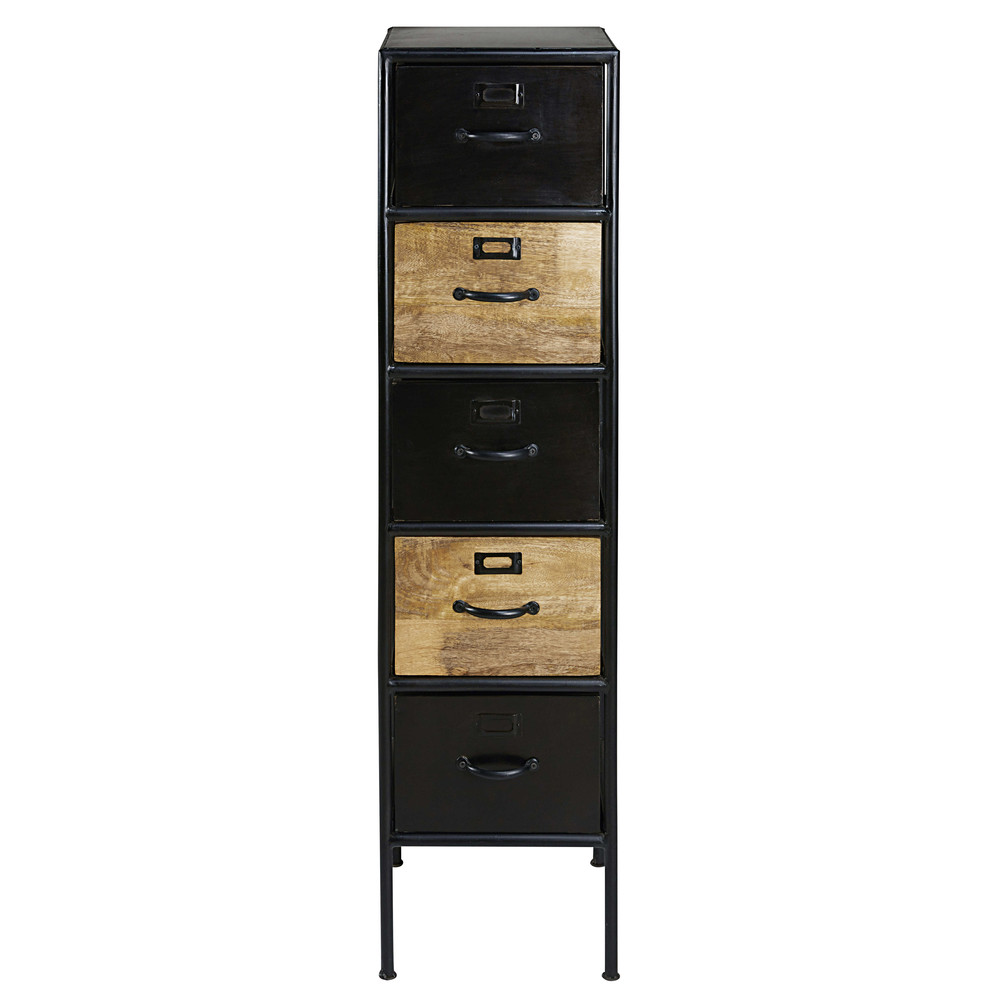 colonne de rangement 5 tiroirs en manguier et m tal noir. Black Bedroom Furniture Sets. Home Design Ideas