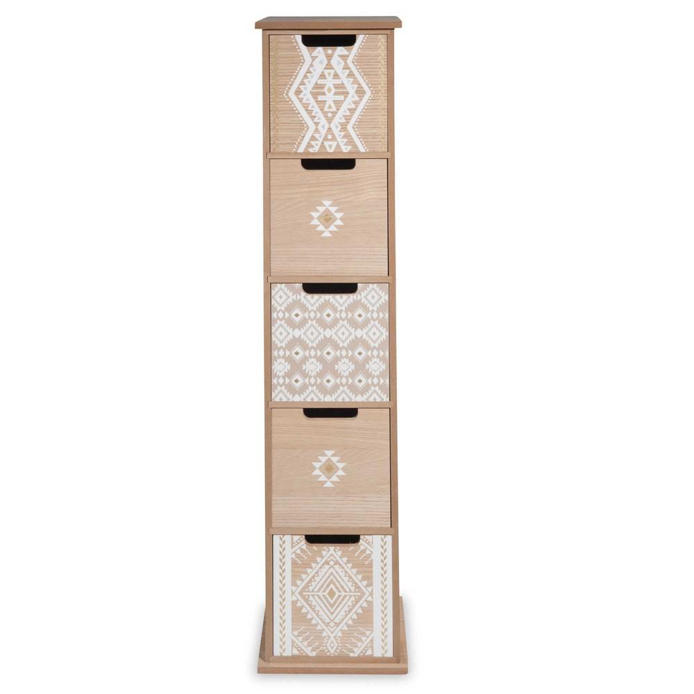 colonne de rangement 5 tiroirs motifs ethniques white island maisons du monde. Black Bedroom Furniture Sets. Home Design Ideas