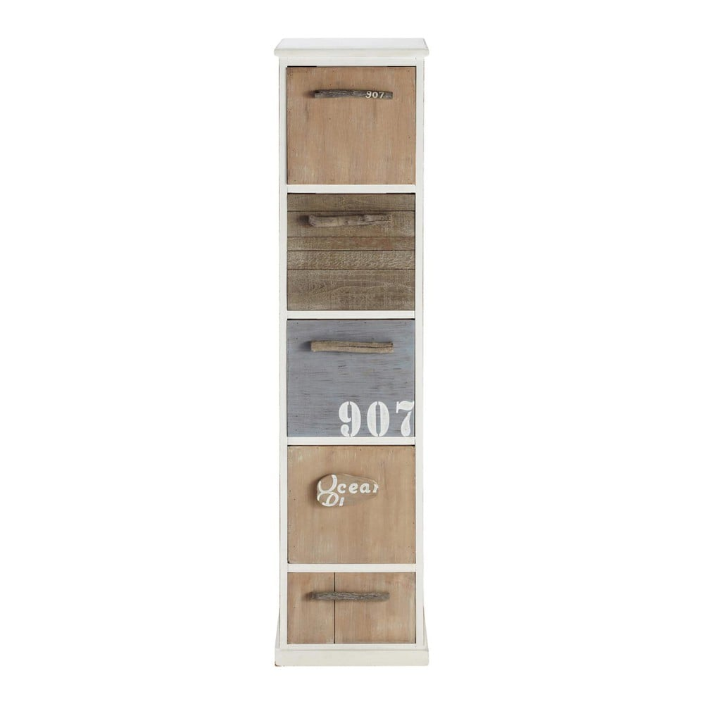 colonne de rangement en bois blanche h 120 cm molene maisons du monde. Black Bedroom Furniture Sets. Home Design Ideas