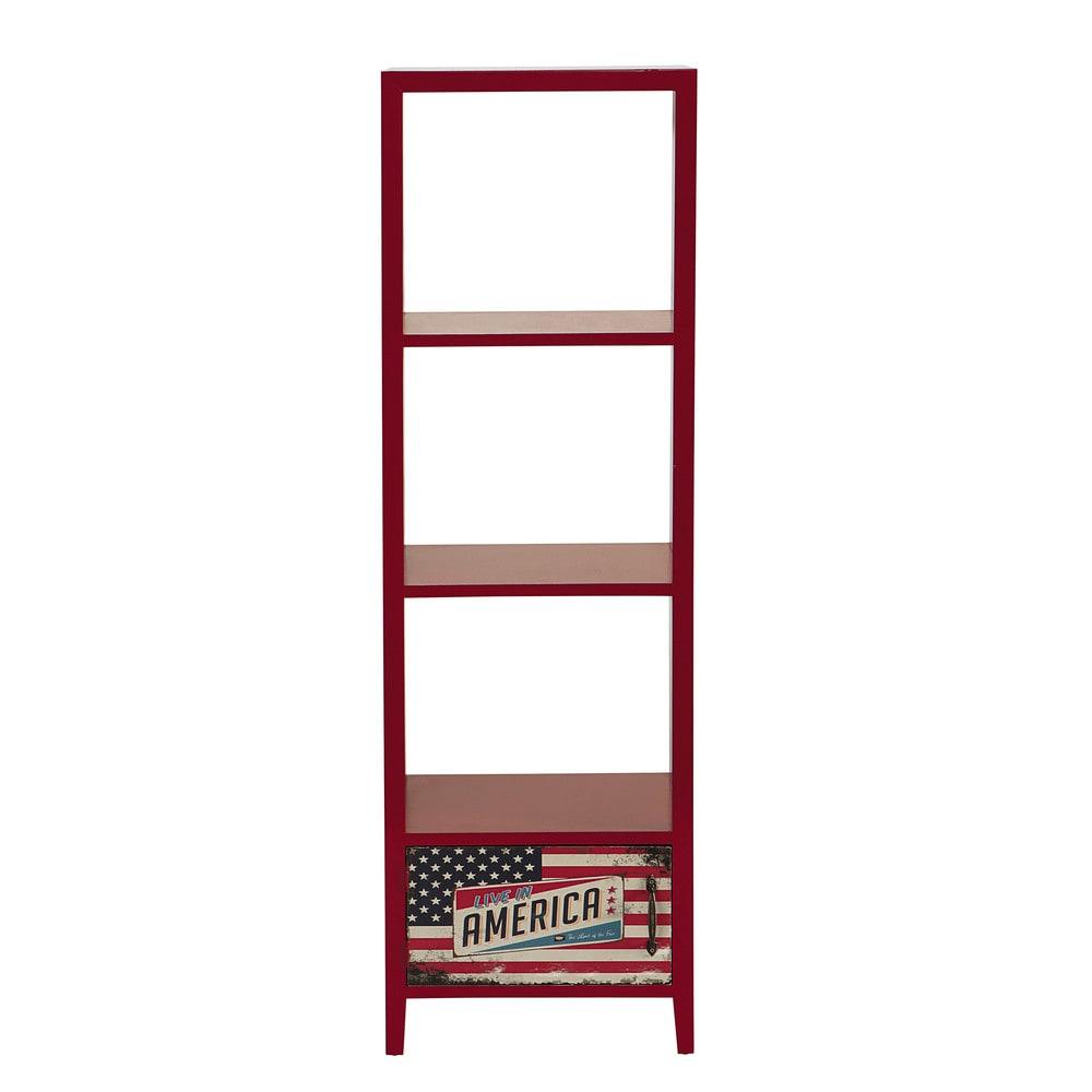 colonne de rangement en bois rouge h 138 cm america maisons du monde. Black Bedroom Furniture Sets. Home Design Ideas