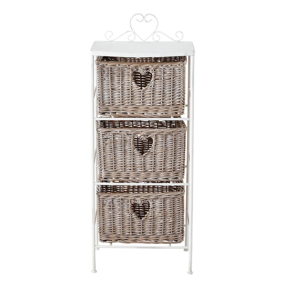 colonne de rangement en m tal blanche h 89 cm romance maisons du monde. Black Bedroom Furniture Sets. Home Design Ideas