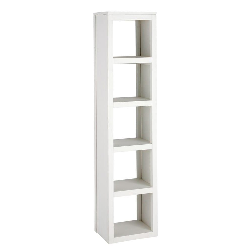 Columna de madera maciza blanca al 170 cm white maisons for Estanteria blanca ikea