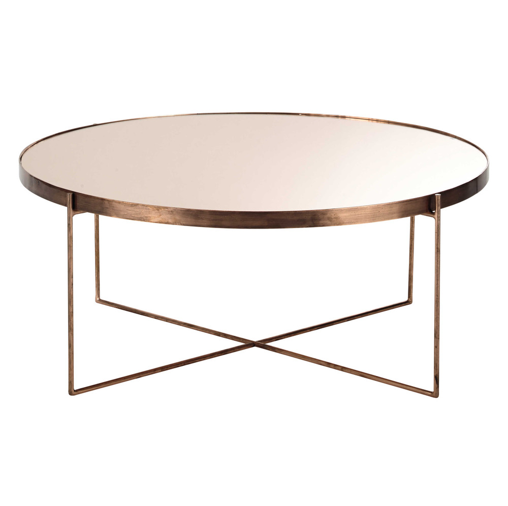 com te copper plated metal mirror coffee table d 83cm. Black Bedroom Furniture Sets. Home Design Ideas