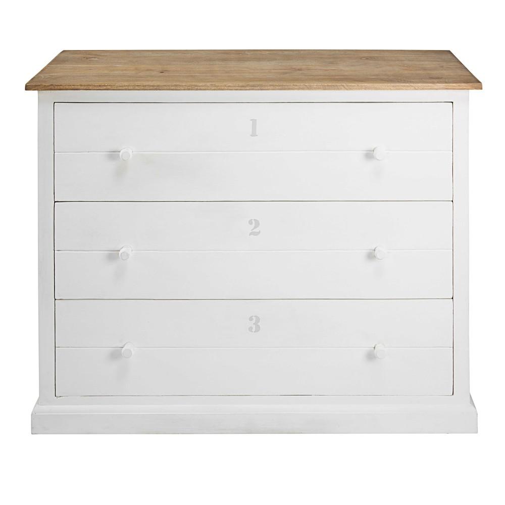 Commode 3 tiroirs en manguier massif gris et blanc - Commode grise tiroirs ...
