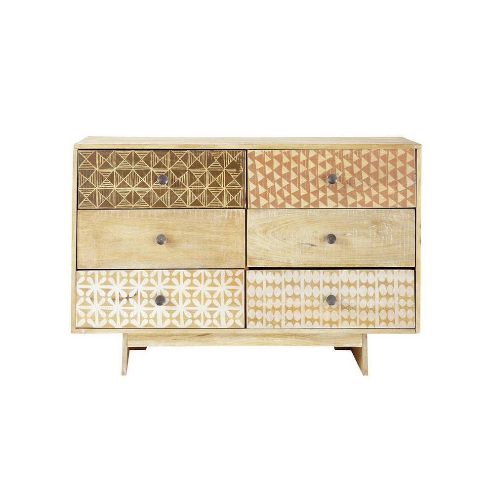 commode 6 tiroirs motifs serengeti maisons du monde. Black Bedroom Furniture Sets. Home Design Ideas