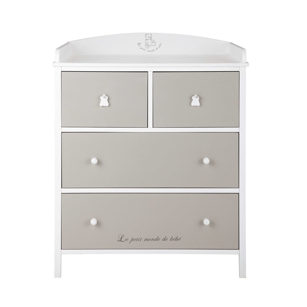Commode langer blanche et taupe ourson maisons du monde for Commode table a langer blanche