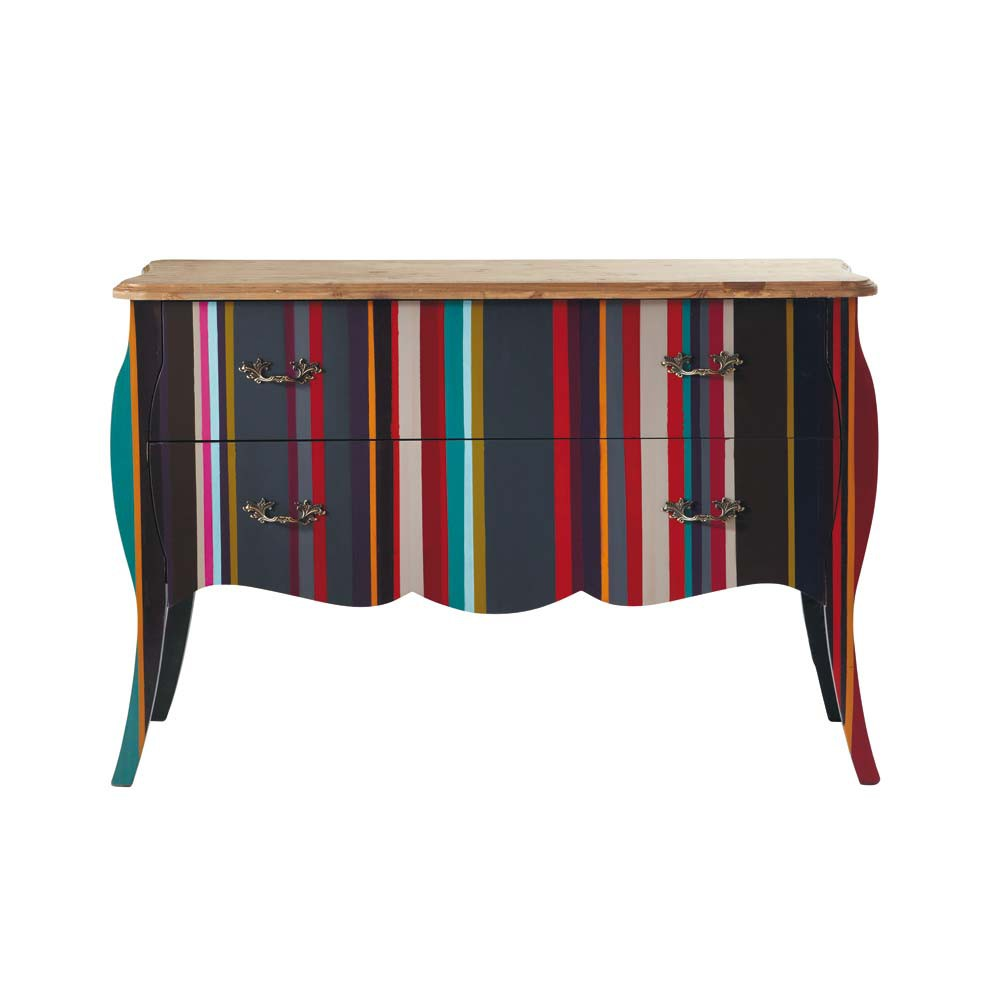 Commode rayures en bois multicolore l 120 cm n on maisons du monde - Commodes maison du monde ...