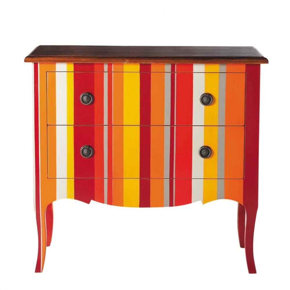 Commode rayures en bois multicolore l 90 cm sud maisons du monde - Maison du monde commode ...