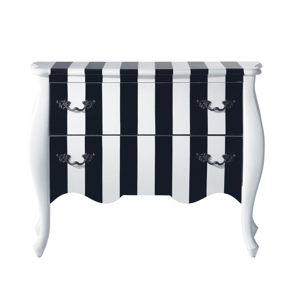 commode rayures en bois noire et blanche l 100 cm karl. Black Bedroom Furniture Sets. Home Design Ideas