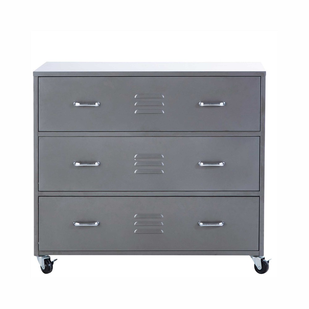 commode roulettes en m tal gris l 95 cm loft maisons. Black Bedroom Furniture Sets. Home Design Ideas