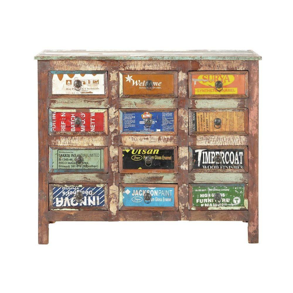 Commode cabinet bois recycl r cup maisons du monde for Maison du monde textile
