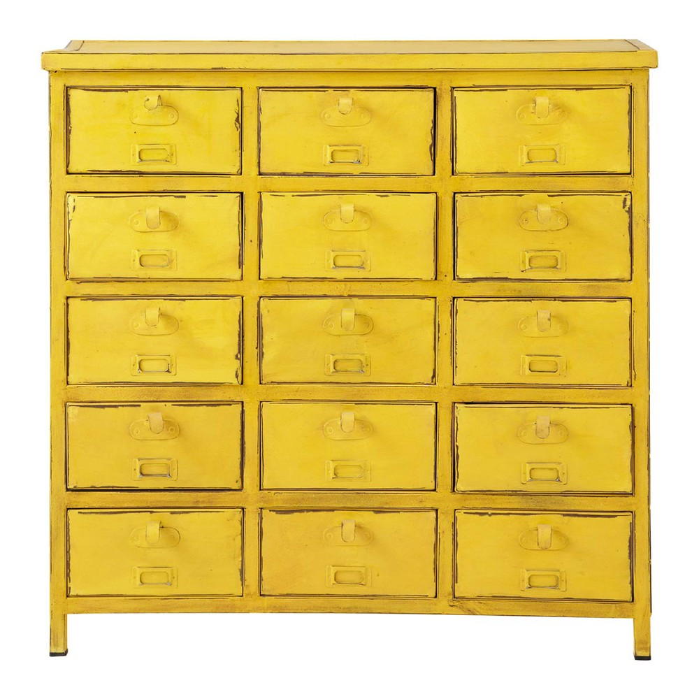 commode cabinet indus jaune edison maisons du monde. Black Bedroom Furniture Sets. Home Design Ideas