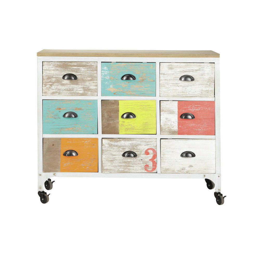 commode cabinet multicolore roulettes ipanema maisons du monde. Black Bedroom Furniture Sets. Home Design Ideas