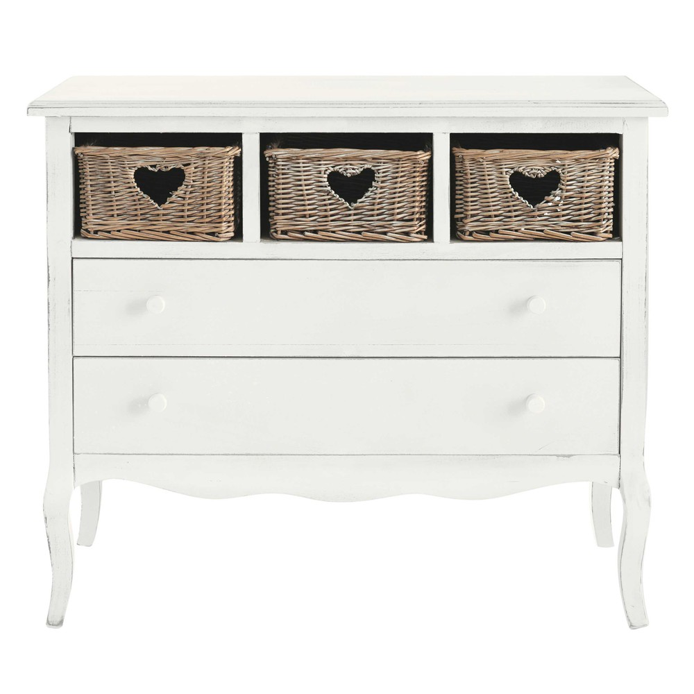 commode c ur en bois blanche l 90 cm gabrielle maisons du monde. Black Bedroom Furniture Sets. Home Design Ideas