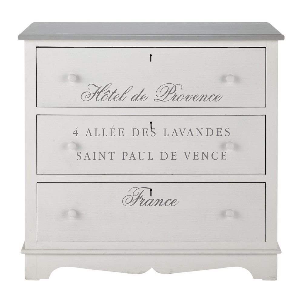 commode en bois de paulownia blanche l 90 cm garrigue. Black Bedroom Furniture Sets. Home Design Ideas