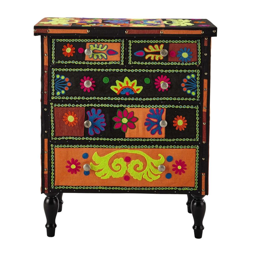 commode en bois et jute multicolore l 75 cm tzigane. Black Bedroom Furniture Sets. Home Design Ideas