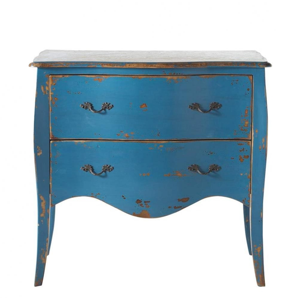 Commode en bois massif bleue l 90 cm azur maisons du monde for Maison du monde petit meuble