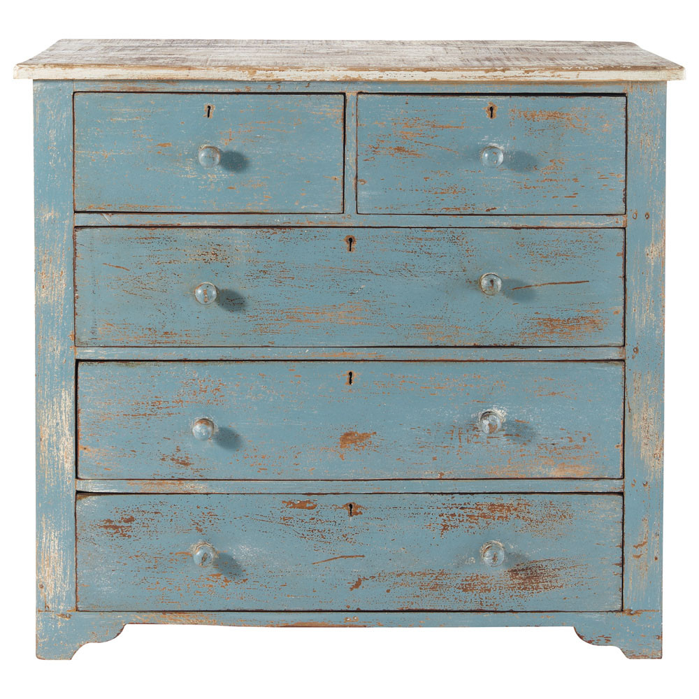 commode en manguier bleue effet vieilli l 94 cm avignon maisons du monde. Black Bedroom Furniture Sets. Home Design Ideas