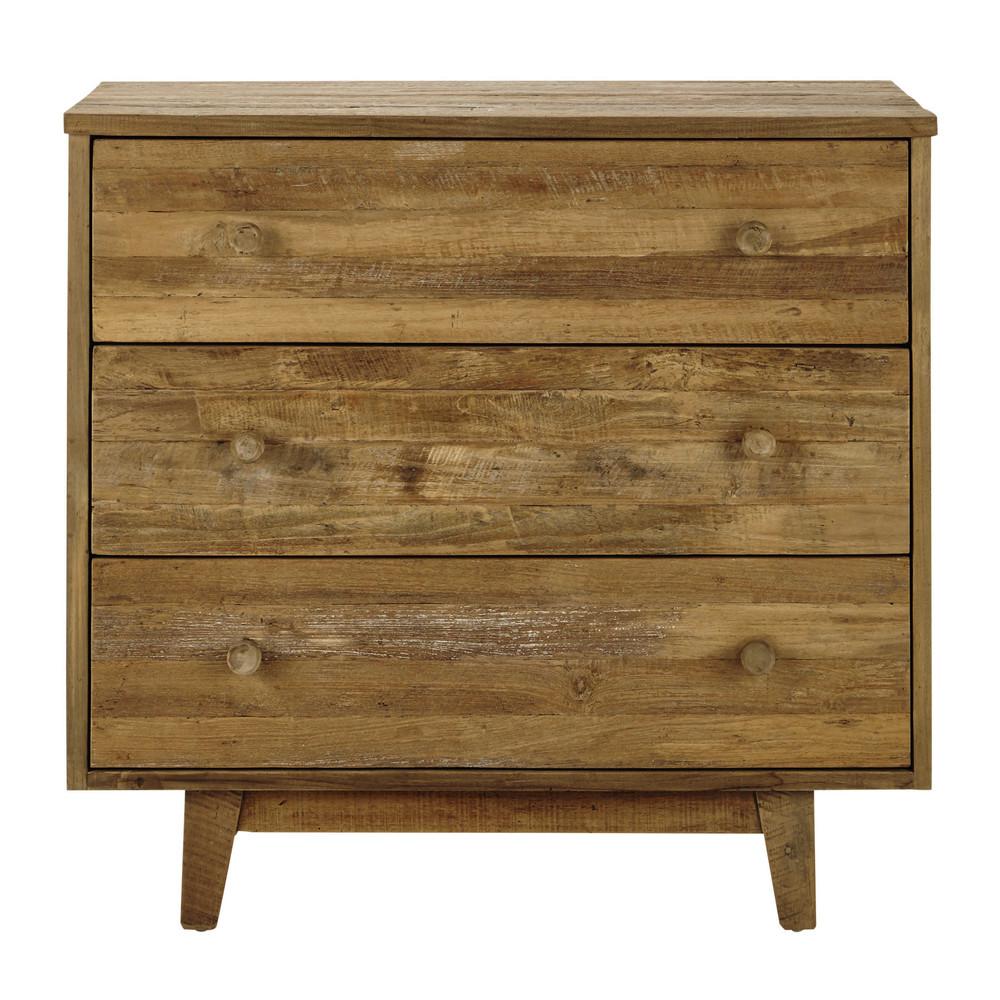 commode en teck recycl l 90 cm wooden maisons du monde. Black Bedroom Furniture Sets. Home Design Ideas