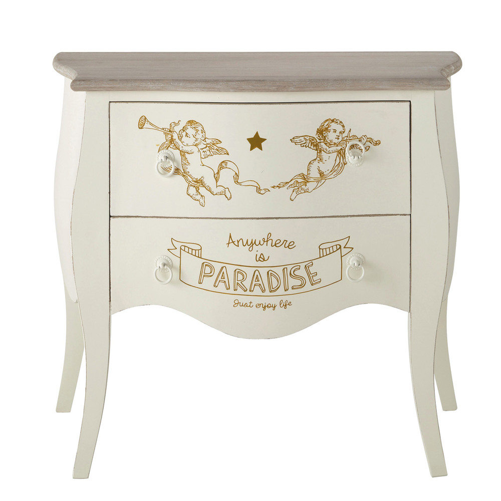 commode enfant avec motifs anges ivoire l 80 cm cherubin. Black Bedroom Furniture Sets. Home Design Ideas