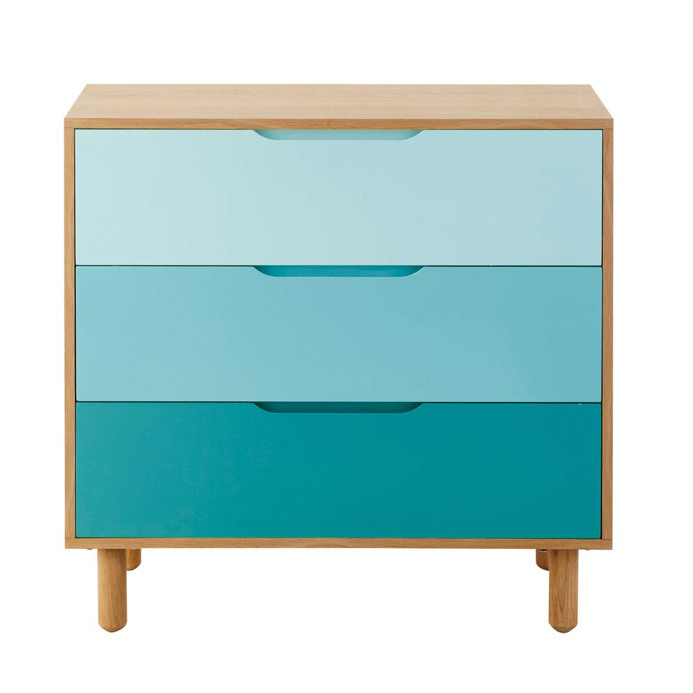 commode enfant en bois bleu l 83 cm leo maisons du monde. Black Bedroom Furniture Sets. Home Design Ideas