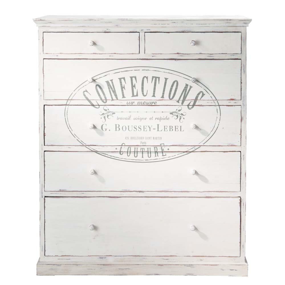 Commode imprim e en bois blanche l 110 cm confection maisons du monde - Commode haute blanche ...