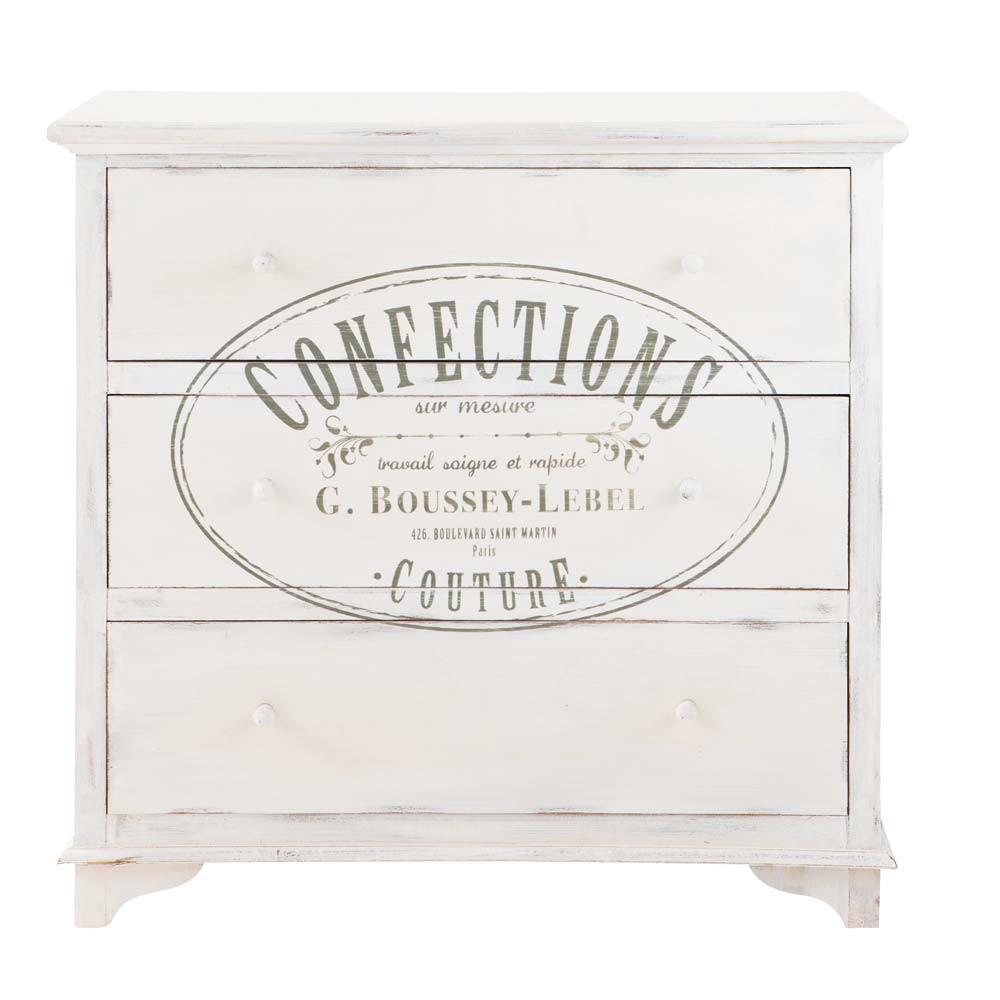 commode imprim e en bois blanche l 90 cm confection maisons du monde. Black Bedroom Furniture Sets. Home Design Ideas