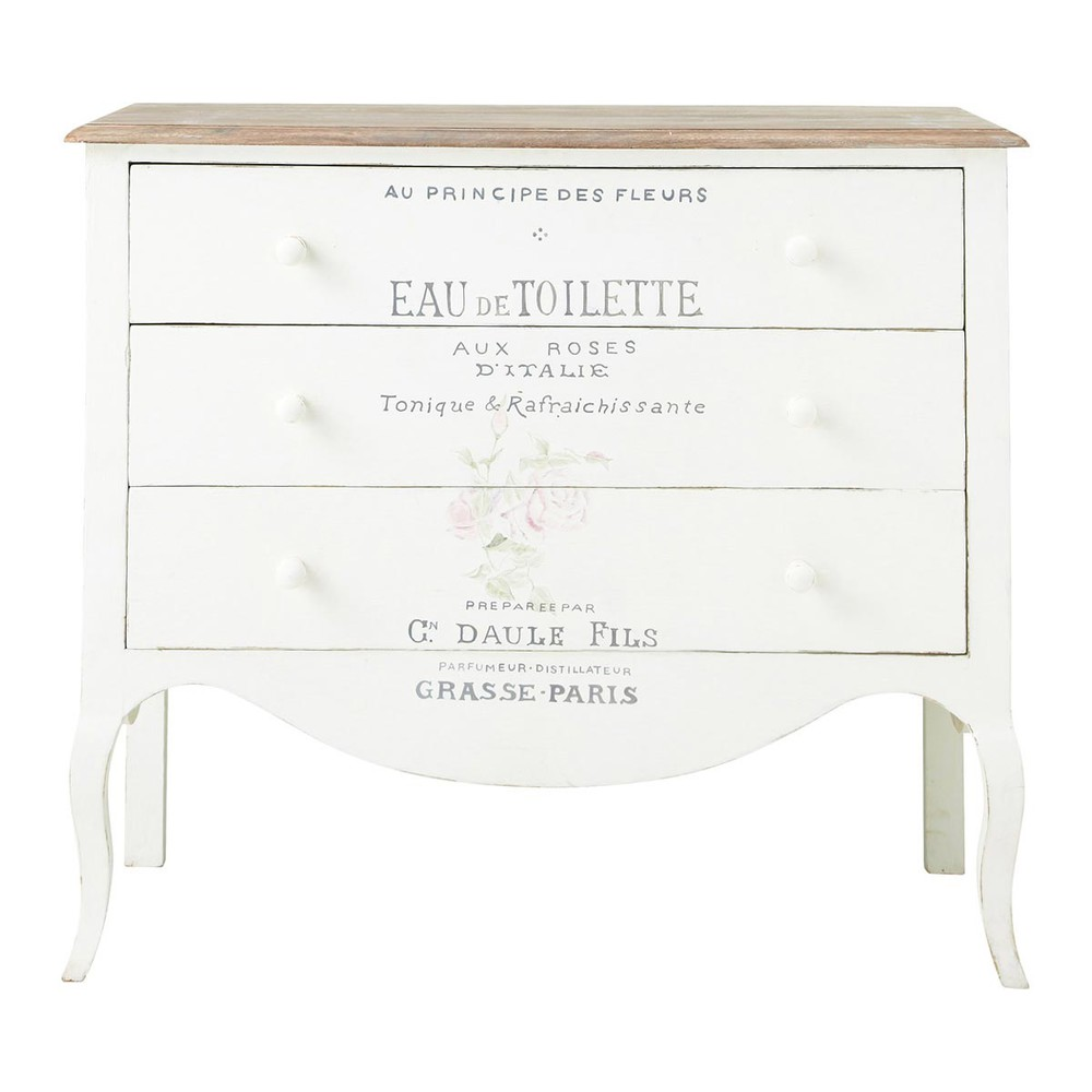 commode imprim e en manguier blanche l 90 cm shabby maisons du monde. Black Bedroom Furniture Sets. Home Design Ideas
