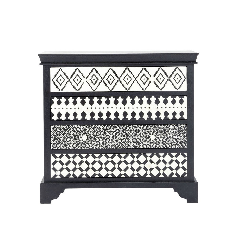 commode noire et blanche l 90 cm ga a maisons du monde. Black Bedroom Furniture Sets. Home Design Ideas