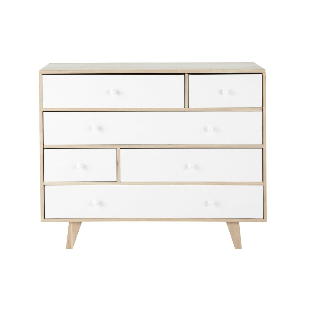 commode scandinave 6 tiroirs en paulownia blanc spring maisons du monde. Black Bedroom Furniture Sets. Home Design Ideas