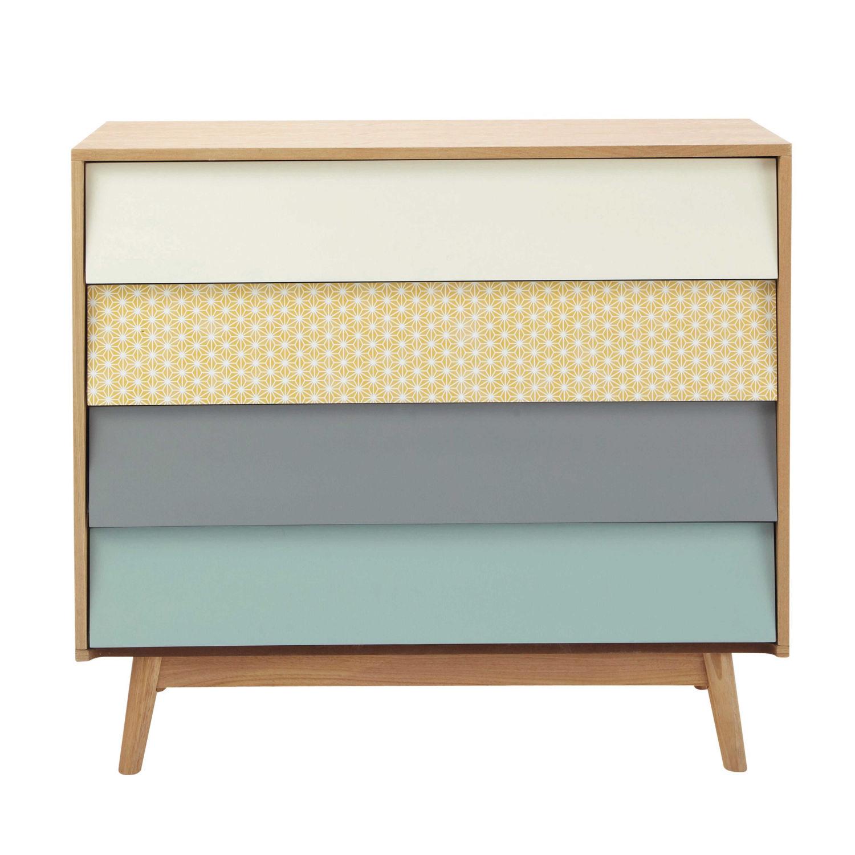 e2a43674a08599 Commode vintage 4 tiroirs multicolore Fjord   Maisons du Monde