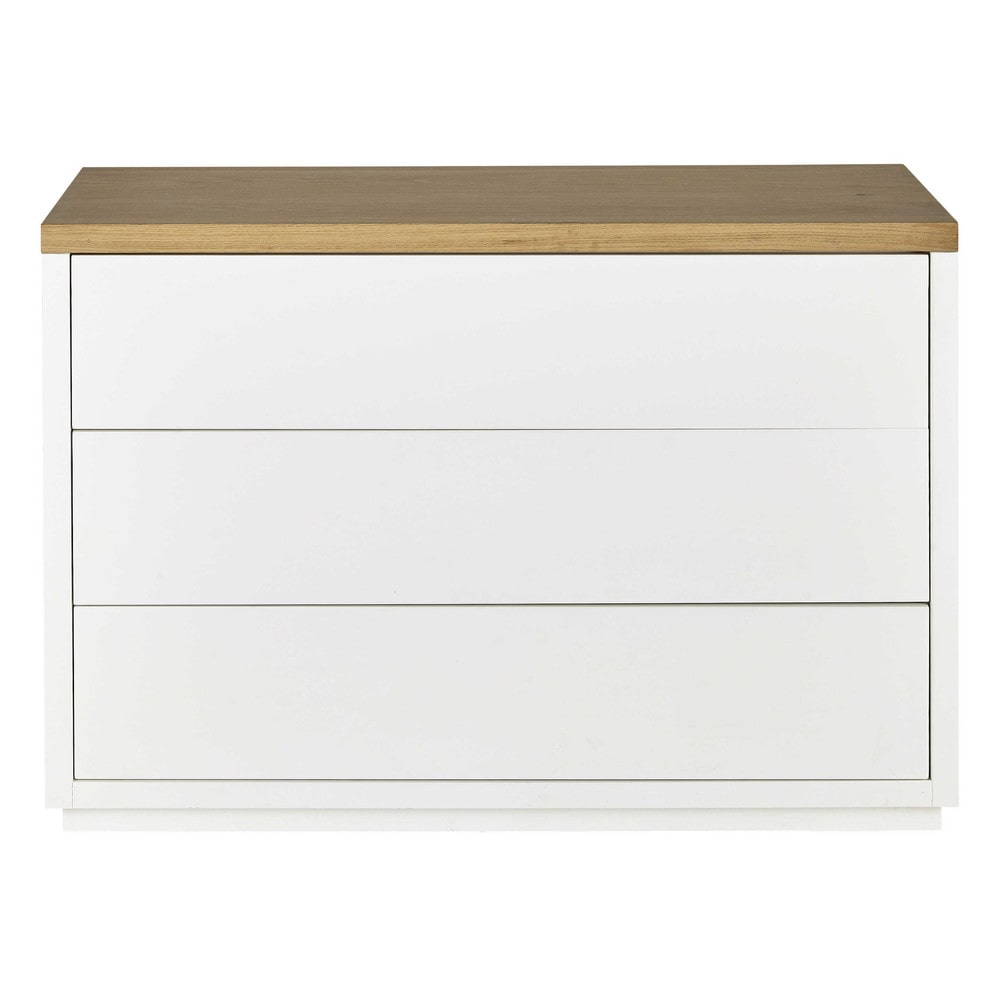 C moda de roble macizo blanca an 116 cm austral maisons - Comoda blanca ...