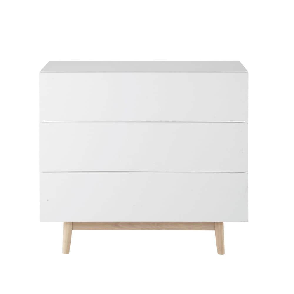 C moda vintage de madera blanca an 90 cm artic maisons - Comoda blanca conforama ...