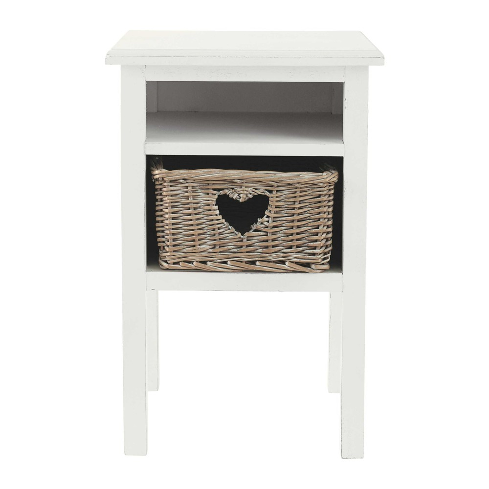 comodino cuore in legno bianco l 35 cm gabrielle maisons du monde. Black Bedroom Furniture Sets. Home Design Ideas