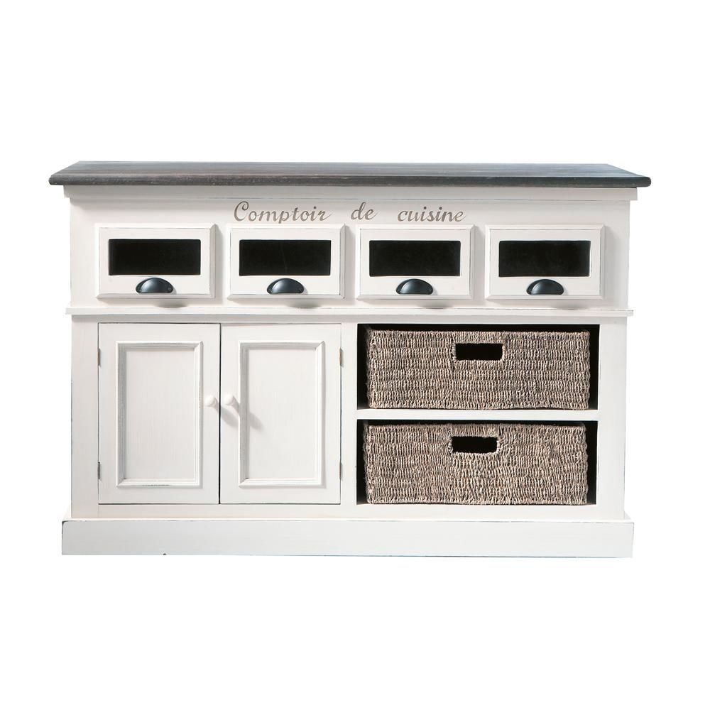 comptoir en bois de paulownia blanc l 130 cm comptoir des épices
