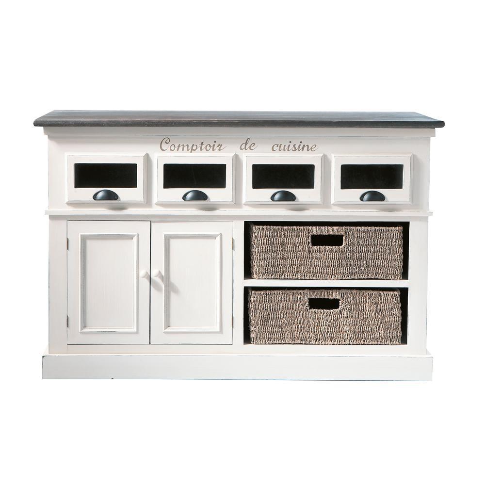 Comptoir en bois de paulownia blanc l 130 cm comptoir des for Meuble indien maison du monde