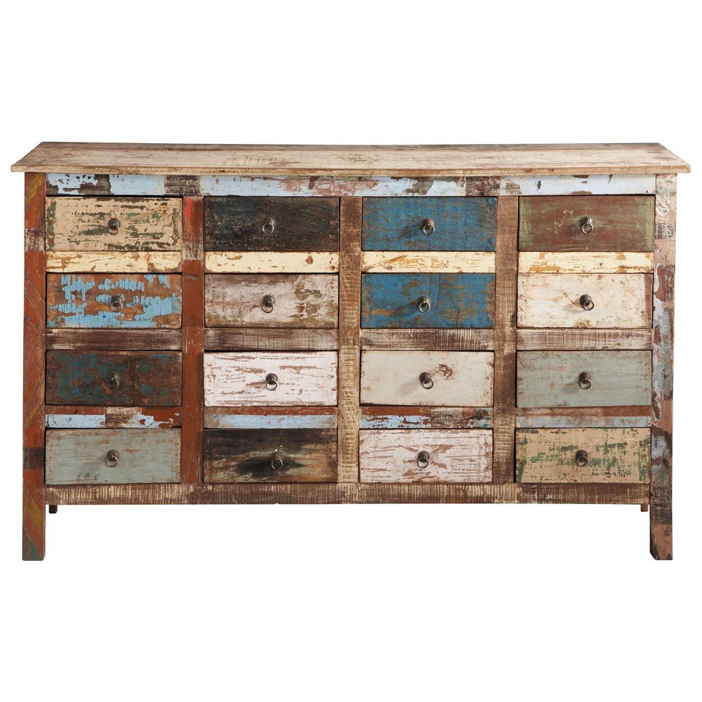 comptoir en bois recycl multicolore l 150 cm calanque maisons du monde. Black Bedroom Furniture Sets. Home Design Ideas