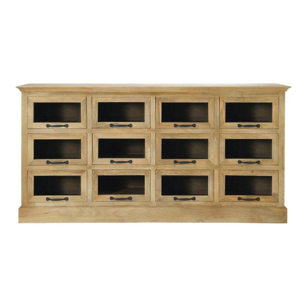 Comptoir grainetier bois 12 tiroirs naturaliste maisons - Comptoir du monde meubles ...